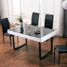 Glass top dining tables Sculpture Ii Apartment Lifestyle Maestro Dining Table White High Gloss W Black Glass Top