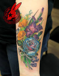 Color Realistic 3d Flower Rose Poppy Sisters Ribbon Tattoo Flickr
