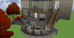 3d rendering picture of screened and covered deck patio stone grill and walls