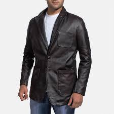 mens wine black leather blazer 1