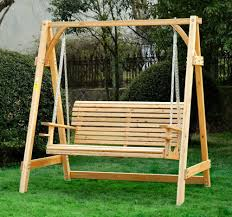 outdoor 2 seater larch wood wooden garden swing chair seat