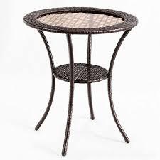 round rattan wicker coffee table glass
