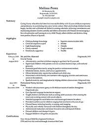 Resume Nanny Samples For Study Examples Of Resumes Skills Summary