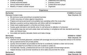 Objective For Bartending Resume Positionbest Perfect Bartender Cv