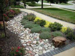 use river stones for garden landscaping