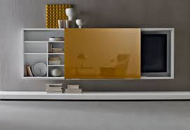 glass door tv stand on wall also shelving units which will save the use of space