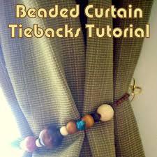 diy beaded curtain tiebacks tutorial wood beads jump rings the decor guru olive drab cream turquoise
