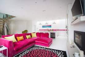 design and decor modern colorful living room rugs and pink microfiber sectional sofa colorful decoration