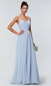 kleinfeld long chiffon bridesmaid dress with pleats