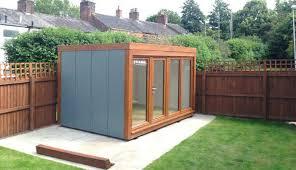 prefabricated garden office. Garden Office With Oak Windows And Merlin Grey Walls Prefabricated