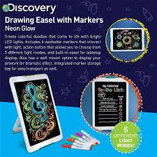 Discovery Kids Neon Glow Drawing Easel W Color Markers Built In