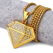 gold plated diamond pendant necklace