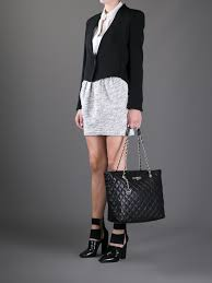 Lyst - Dkny Quilted Leather Tote in Black & Gallery Adamdwight.com