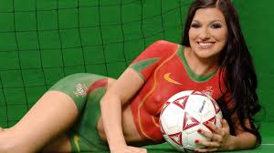 Beautiful Girl with painted football dress on her. Enjoy FIFA. Beautiful Girl with painted football dress on her. Enjoy FIFA Body Painting