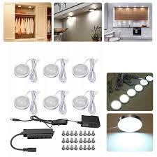 Diy Light Kit 6pcs Round Led Under Cabinet Light Kit Kitchen Shelf Lamp Counter Diy
