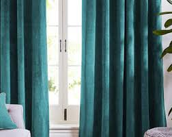 Blue Turquoise Velvet Curtains and Drapes Greenish Blue Curtains Panels  Natural Window Treatment French door curtains