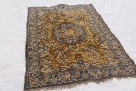 vintage blue gold rayon cotton carpet rug w oriental cranes or pheasants shabby gypsy style