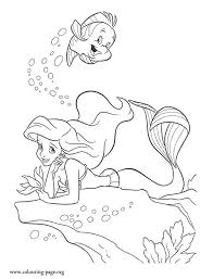 Small Picture The Little Mermaid Ariel and Flounder under the sea coloring page