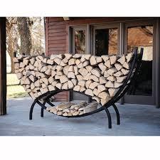 crescent shaped metal outdoor firewood log rack with kindling holder brookstone 164 99
