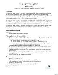 Restaurant Host Job Description Resume Luxury Restaurant Server Job