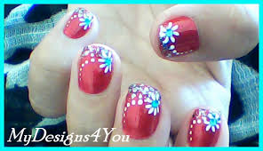Floral Nail Art for Short Nails | Red Nails Design ♥ - YouTube