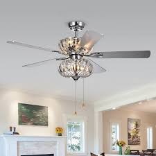 lighting stunning crystal chandelier ceiling fan 17 kyana 6 light 5 blade 52 inch chrome efe5ca5d