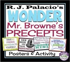 wonder by r j palacio mr browne s precepts posters post card activity