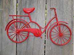 red bicycle metal wall art