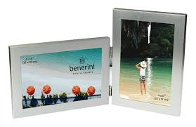 silver colour twin 2 picture double folding photo frame gift present 0055