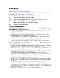 Systems Admin Resumes Sample Resume For System And Network Administrator