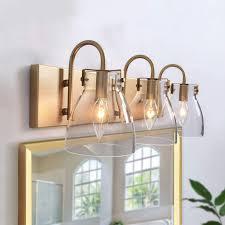 Modern Bathroom Lighting Ksana 3 Light Modern Vanity Light Fixture Brass Bathroom Lighting With Clear Glass Shades 22 L