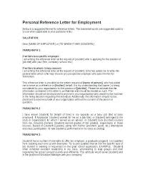 Recommendation Letter From Employer Sample 8 Reference Er Format For