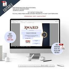 Employee Of The Month Free Online Employee Of The Month Editable Award Template Editable Printable Employee Award Template Pdf Instant Download