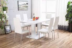white imperia high gloss dining table set furniturebox new more views french provincial circular glass rustic kitchen with bench live edge desk round