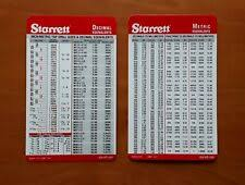 Starrett Hole Saw Size Chart 4 Decimal Fractions Metric Conversion Pocket Charts And Tap