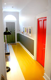 hallway office ideas. Home Office : Design Colourful Statement Colour Blocking Hallway Creative Orange Blue Pink Yellow Painted Floor Boards Grey Color Interior Architect Ideas B