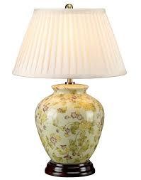Elstead Yellow Flowers Ceramic Table Lamp Cream Shade