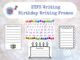 Birthday Writing Frames Eyfs Phase 2 3 Phonics By
