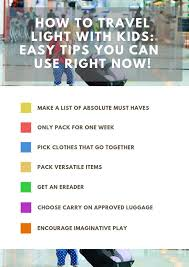 list for traveling tips for traveling light with kids and carry on tavel