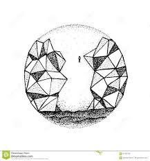 гора утеса Dotwork полигональная иллюстрация вектора иллюстрации