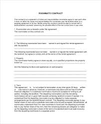 Roommate Agreement Contracts 8 Roommate Contract Templates Word Google Docs Apple
