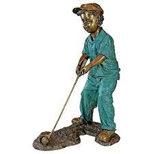 amazon design toscano gabe the boy golfer cast bronze garden statue garden outdoor