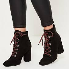 black square toe lace up boots block heel ankle booties image 1