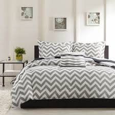 impressive queen size white and gray bedding with chevron pattern