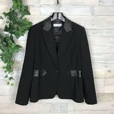 details about tahari asl black faux leather trim collar blazer jacket coat dressy women s 14