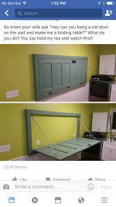 Fold Down Wall Table Diy Mounted Old Door