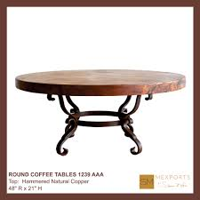 Copper Top Kitchen Table Coffee Round Table Iron Base Chocolate Finish Copper Natural