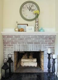 diy brick whitewashed fireplace via porch
