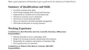 Sle Bartending Resumes Professional Bartender Resume Skills