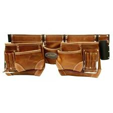 rolson heavy duty 10 pocket professional double pouch leather tanned tool belt for